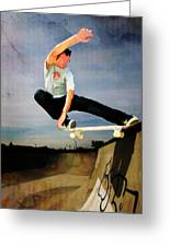 Skateboarding The Wall Greeting Card by Elaine Plesser