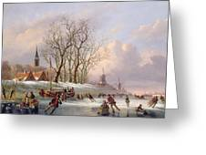 Skaters On A Frozen River Before Windmills Greeting Card by Dutch School
