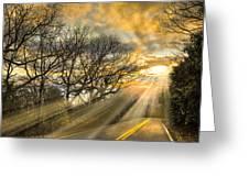 Skeletons At Sunset Greeting Card by Debra and Dave Vanderlaan