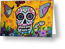 Skull And Butterflies Greeting Card by Pristine Cartera Turkus