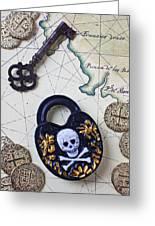 Skull And Cross Bones Lock Greeting Card by Garry Gay