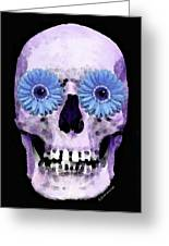 Skull Art - Day Of The Dead 3 Greeting Card by Sharon Cummings