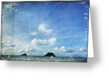 Sky And Cloud On Old Paper Greeting Card by Setsiri Silapasuwanchai