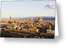 Skyline Of Florence From The Piazza Michelangelo At Dawn Greeting Card by Jeremy Woodhouse