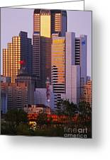 Skyscrapers In Downtown Dallas Greeting Card by Jeremy Woodhouse