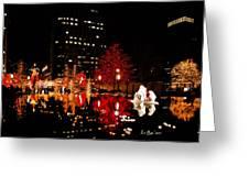Slc Temple Nativity Pond Greeting Card by La Rae  Roberts