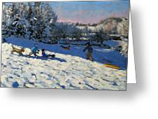 Sledging Near Youlgreave Greeting Card by Andrew Macara