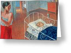Sleeping Child Greeting Card by Kuzma Sergeevich Petrov Vodkin