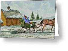 Sleigh Ride Greeting Card by Charlotte Blanchard