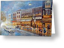 Small Town On A Rainy Day In 1960 Greeting Card by Gina Femrite