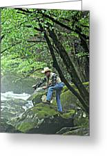 Smoky Mountain Angler Greeting Card by Marty Koch