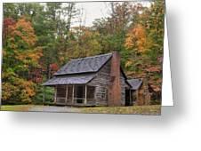 Smoky Mountains Log Capbin Greeting Card by Charles Warren