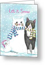 Snow Cats Greeting Card by Terry Taylor