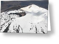 Snow-covered Ngauruhoe Cone, Mount Greeting Card by Richard Roscoe