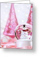 Snow Globe With Pink  Trees Greeting Card by Sandra Cunningham