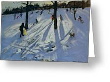 Snow Rykneld Park Derby Greeting Card by Andrew Macara