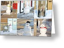 Snowmen Antics. Greeting Card by Kelly Nelson