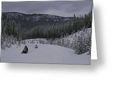 Snowmobilers In Yellowstone National Greeting Card by Raymond Gehman