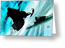 Snowmobiling On Icy Trails Greeting Card by Elaine Plesser