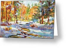 Snowy Autumn - Plein Air Greeting Card by David Lloyd Glover