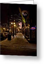 Snowy Downtown Greeting Card by Laurianna Murray