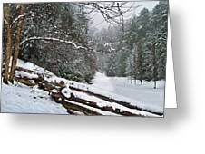Snowy Fence Greeting Card by Debra and Dave Vanderlaan
