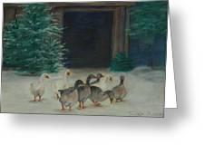 Snowy Geese Greeting Card by Susan Fuglem