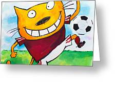 Soccer Cat 2 Greeting Card by Scott Nelson