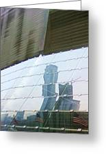 Soldier Field Reflection Greeting Card by Anna Villarreal Garbis