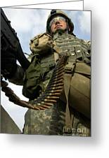 Soldier Mans A Vehicle Mounted 7.62 Mm Greeting Card by Stocktrek Images