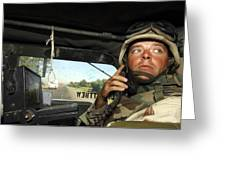 Soldier Monitors The Progress Of A 67 Greeting Card by Stocktrek Images