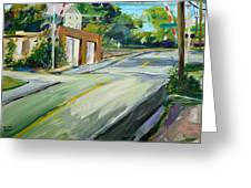 South Main Street Train Crossing Greeting Card by Scott Nelson