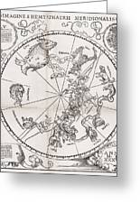Southern Hemisphere Star Chart, 1537 Greeting Card by Middle Temple Library