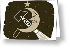 Soviet Moon Exploration, Artwork Greeting Card by Detlev Van Ravenswaay