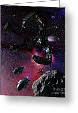 Space Scene Inspired By The Novels Greeting Card by Rhys Taylor