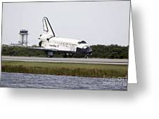 Space Shuttle Discovery On The Runway Greeting Card by Stocktrek Images