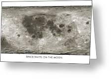 Spacecraft On The Moon, Lunar Map Greeting Card by Detlev Van Ravenswaay