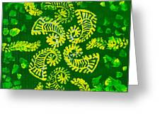 Spinning Greens Greeting Card by Farah Faizal