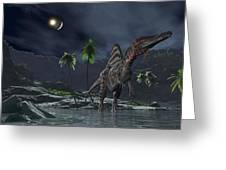 Spinosaurus Witnessing A Lunar Impact Greeting Card by Walter Myers