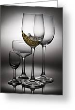 Splashing Wine In Wine Glasses Greeting Card by Setsiri Silapasuwanchai