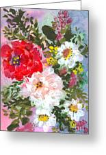 Splashy Flowers Greeting Card by Debbie Wassmann
