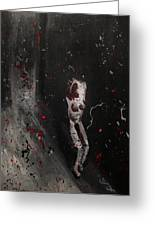 Splattered Nude Young Female In Gritty City Alley In Black And White And Red Greeting Card by M Zimmerman