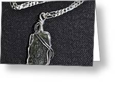 SS wire wrapped Moldavite Pendant Greeting Card by Diana Nigon