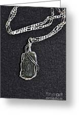 Ss Wire Wrapped Moldavite Pendant Greeting Card by D Nigon