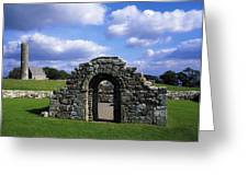 St Brigids Church, Inis Cealtra Holy Greeting Card by The Irish Image Collection
