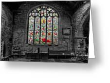 St Dyfnog Window Greeting Card by Adrian Evans