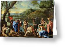 St John Baptising The People Greeting Card by Nicolas Poussin
