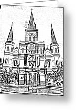 St Louis Cathedral And Fountain Jackson Square French Quarter New Orleans Photocopy Digital Art Greeting Card by Shawn O'Brien