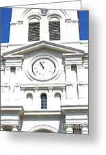 St Louis Cathedral Clock Jackson Square French Quarter New Orleans Diffuse Glow Digital Art Greeting Card by Shawn O'Brien