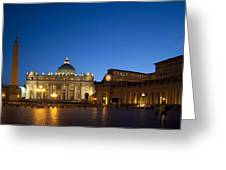St. Peter's Basilica at Night Greeting Card by David Smith